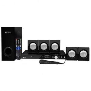 Home Theater 5.1 Canais 270W RMS Lenoxx com DVD, Rádio FM, Karaokê com Pontuação, Função Ripping, Conexão USB e Auxiliar + 1 Microfone Grátis - HT-723