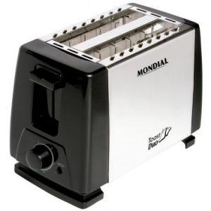 Torradeira Mondial - 650w de Potência, 6 Opções de Tostagem, Aberturas Largas, em Aço Inox, Botão Cancelar - NT01 Toast Duo