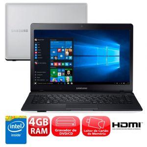 """Notebook Samsung Essentials E21 370E4K-KWB com Intel® Dual Core, 4GB, 500GB, Gravador de DVD, Leitor de Cartões, HDMI, Bluetooth, LED 14"""" e Windows 10"""