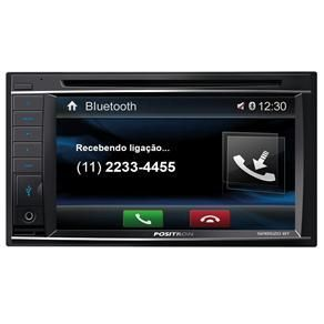 "Central Multimídia Pósitron SP8520BT Duble DIN com Tela de 6,2"" Touchscreen, Entradas USB e Auxiliar, Bluetooth, SD-Card e Controle Remoto"