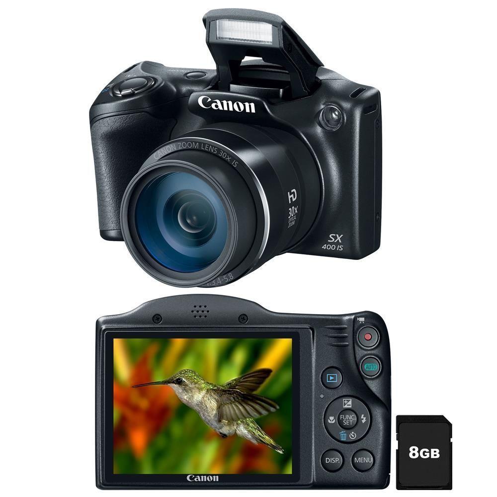 """Câmera Digital Canon Powershot SX400IS Preta – 16.0MP, LCD 3.0"""", Zoom Óptico de 30x, Estabilizador Inteligente, Lente 24mm e Vídeo HD + Cartão de 8GB"""
