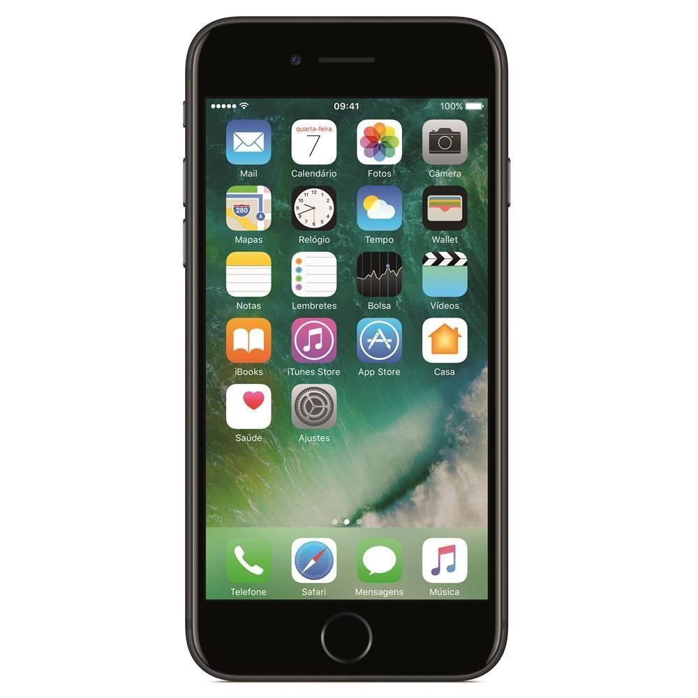 """iPhone 7 Apple com 128GB, Tela Retina HD de 4,7"""" com 3D Touch, iOS 10, Sensor Touch ID, Câmera 12MP, Resistente à Água, Wi-Fi, 4G e NFC - Preto Matte"""