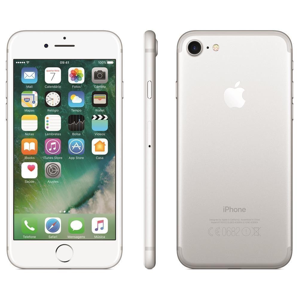 """iPhone 7 Apple com 128GB, Tela Retina HD de 4,7"""" com 3D Touch, iOS 10, Sensor Touch ID, Câmera 12MP, Resistente à Água, Wi-Fi, 4G LTE e NFC - Prateado"""