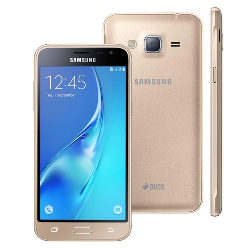 """Smartphone Samsung Galaxy J3 Duos SM-J320M/DS Dourado com Dual Chip, Tela 5.0"""", Câmera 8MP, Android 5.1 e Processador Quad Core de 1.5 Ghz"""