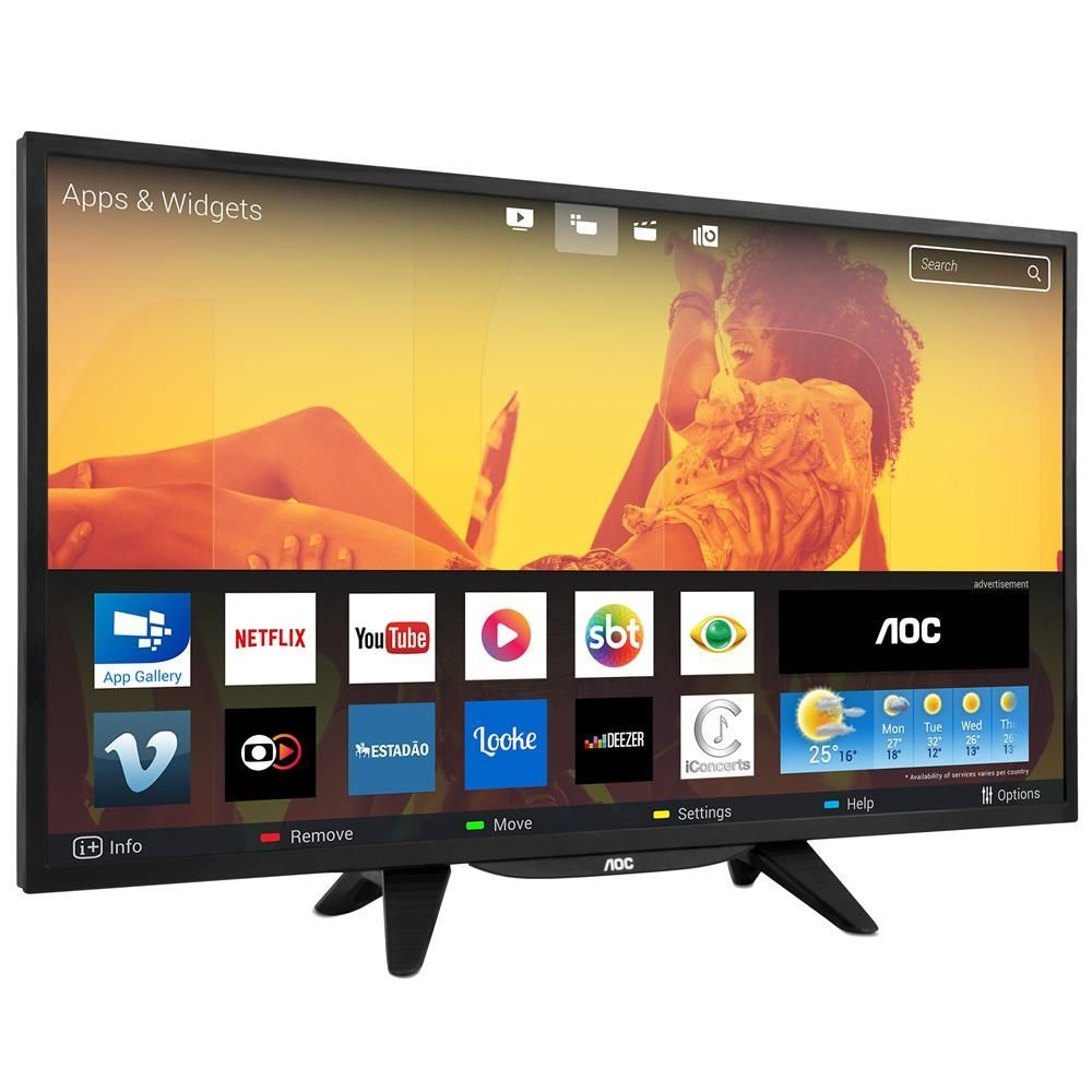 "Smart TV LED 43"" HD AOC LE43S5760 com Wi-Fi, Miracast, App Gallery, Multi-Sight, Entradas HDMI e USB"