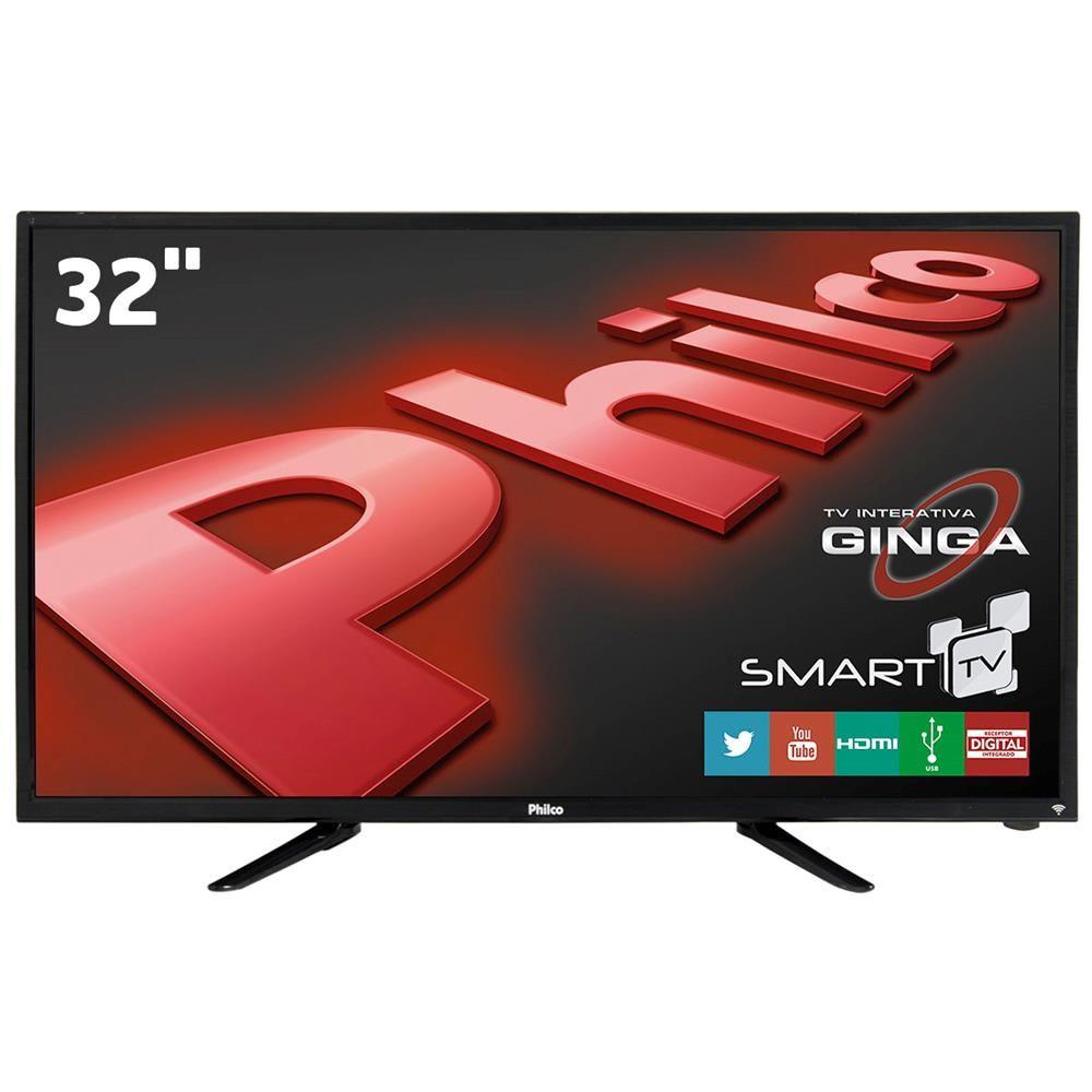 """Smart TV LED 32"""" HD Philco PH32B51DSGW com Conversor Digital, Tecnologia Ginga, Wi-Fi, Entradas HDMI e Entrada USB"""