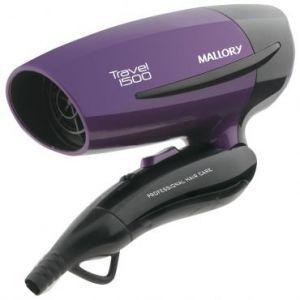Secador Travel 1500 Mallory - Compacto e Leve, Perfeito para Viagens, Dobrável, 2 Velocidades, Cabo Dobrável, Bivolt