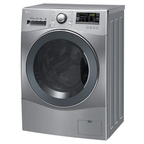 Lavadora/Secadora de Roupas LG Touch Big Door WD1412RT(A)7B 10.2 Kg, em Aço Escovado, com 6 Movimentos de Lavagem e Direct Drive