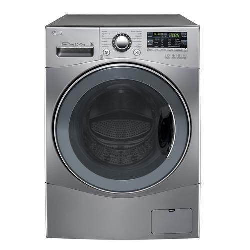 Lavadora/Secadora de Roupas LG Touch Big Door WD1485AT(A)7B 8.5Kg, em Aço Escovado, com 6 Movimentos de Lavagem e Direct Drive