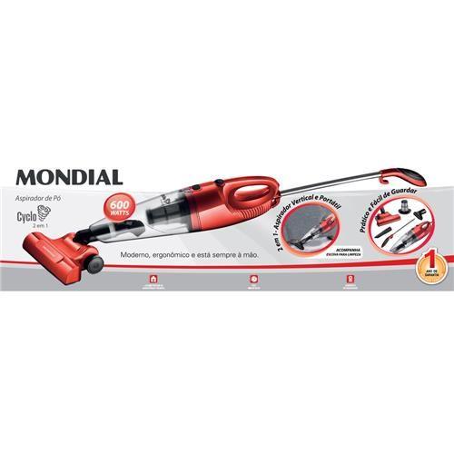 Aspirador de Pó Mondial Cyclo 2 em 1 AP-10 600W - Vermelho