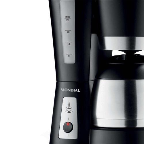 Cafeteira Mondial Bella Arome Térmica C-17 Prepara até 20 Xícaras de Café, Jarra Térmica e Sistema Corta Pingos – Preta/Inox