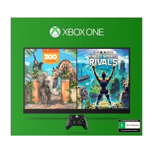 Console Xbox One 500GB Kinect + 2 Jogos Download via Xbox Live (Kinect Sports Rivals e ZooTycoon)