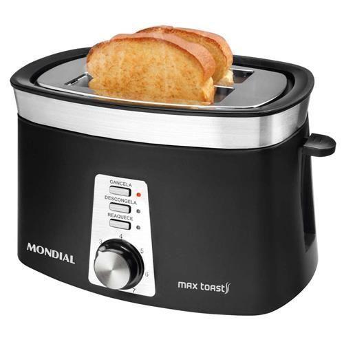Tostador de Pães Mondial Max Toast T-04 – Preto/Inox