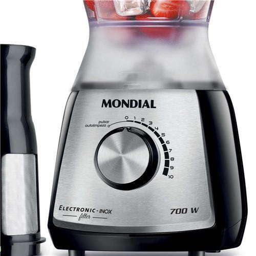 Liquidificador Mondial Eletronic Filter Premium com 10 Velocidades, Função Pulsar e Filtro 700W L-66  – Inox/Preto