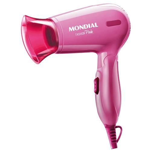 Secador de Cabelos Mondial Fashion Pink com Emissão de Íons Bivolt 1200W – Rosa