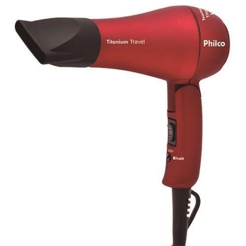 Secador de Cabelos Philco Titanium Travel  Bivolt – Vermelho