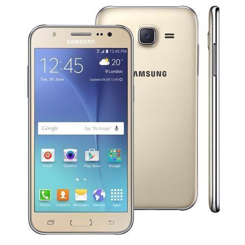 """Smartphone Samsung Galaxy J5 Duos Dourado com Dual chip, Tela 5.0"""", 4G, Câmera 13MP, Android 5.1 e Processador Quad Core de 1.2 Ghz"""