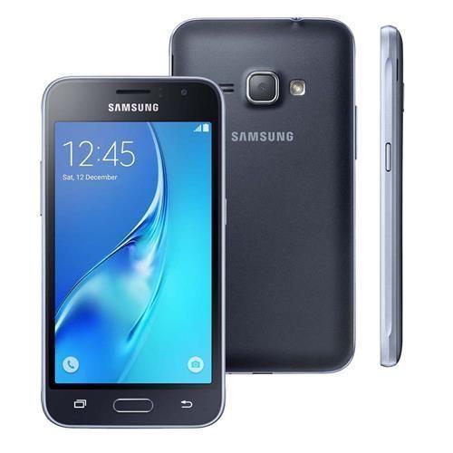 """Smartphone Samsung Galaxy J1 2016 Duos Preto com Dual chip, Tela 4.5"""", 3G, Câm.de 5MP e Frontal de 2MP, Android 5.1 e Processador Quad Core de 1.2 GHz"""