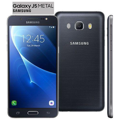 """Smartphone Samsung Galaxy J5 Duos Metal Preto com 16GB, Dual chip, Tela 5.2"""", 4G, Câmera 13MP, Android 6.0 e Processador Quad Core de 1.2 Ghz"""