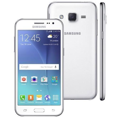 """Smartphone Samsung Galaxy J2 TV Duos Branco com Dual chip, Tela 4.7"""", TV Digital, 4G, Câmera 5MP, Android 5.1 e Processador Quad Core de 1.1 Ghz"""