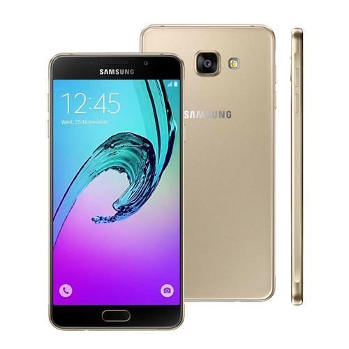 """Novo Smartphone Samsung Galaxy A7 2016 Duos SM-A710M/DS Dourado com Dual Chip, Tela 5.5"""", 4G, Android 5.1, Câmera 13MP e Processador Octa Core"""