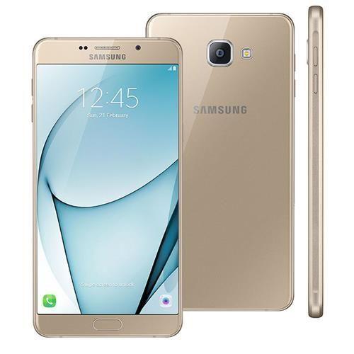 """Smartphone Samsung Galaxy A9 Dourado com 32GB, Dual Chip, Tela 6.0"""", 4G, Android 6.0, Câmera 16MP, Leitor Digital, Processador Octa Core e RAM de 4GB"""