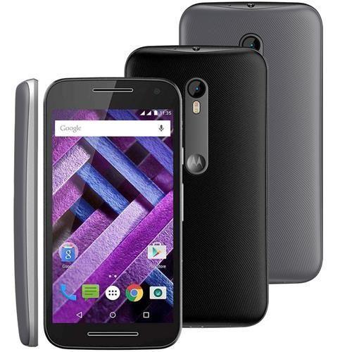 Smartphone Moto G (3ª Geração) Turbo XT1556 Preto com 16GB, Tela de 5'', Dual Chip, Android 5.1, 4G, Câmera 13MP, Processador Octa-Core e RAM de 2GB