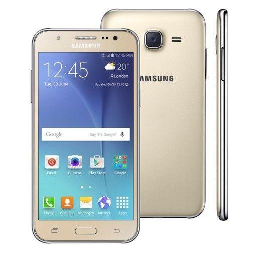 "Smartphone Samsung Galaxy J5 Duos Dourado 4G Tela 5"" Android 5 Câmera 13Mp 16Gb (Cód: 9017399)"
