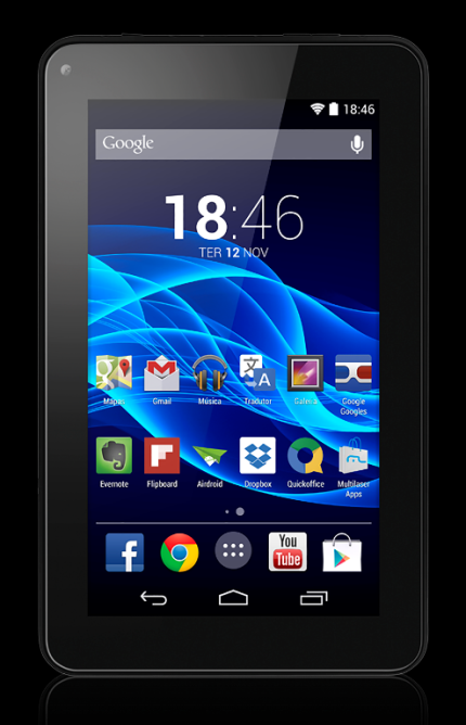 "Tablet Multilaser M7s Nb184 Preto, Tela 7"" Wi-Fi, Android 4.4, 8Gb, Quad Core 1.2 GHz (Cód: 8883685)"