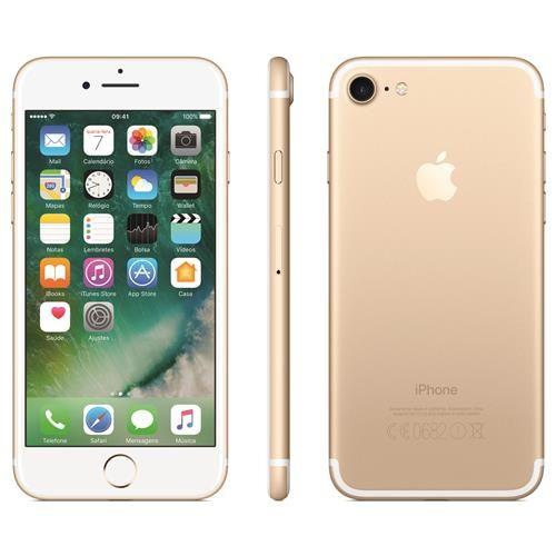 """iPhone 7 Apple com 32GB, Tela Retina HD de 4,7"""" com 3D Touch, iOS 10, Sensor Touch ID, Câmera 12MP, Resistente à Água, Wi-Fi, 4G LTE e NFC - Dourado"""