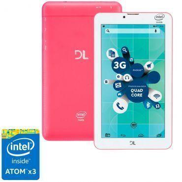 Tablet DL SocialPhone com Função Celular TX316BRA - Tela 7, Intel Atom X3 Quad Core, 8GB,1GB RAM,Android 5,Wi-Fi+3G,Câmera frontal,Bluetooth-Rosa Neon