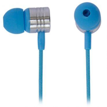 Earphone com microfone Maxprint, cabo revestido em nylon mash, Sons límpidos, cristalinos e de alta potência - Neon Azul