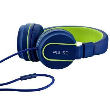 Headphone Pulse Fun - Emborrachado, Design Moderno, Microfone, Espuma Macia e Confortável, Leve, Anatômico, Azul e Verde PH162