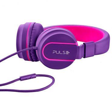 Headphone Pulse Fun - Emborrachado, Design Moderno, Microfone, Espuma Macia e Confortável, Leve, Anatômico, Rosa e Roxo PH161