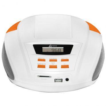 Som Portátil 3,5W RMS Lenoxx com Rádio FM Estéreo, Alça para Transporte, Conexões MP3, Entrada USB, SD Card e Auxiliar - Branco e Laranja - BD-109