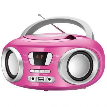 Som Portátil Mondial 6W RMS Bivolt, CD Player, Radio FM, Display Digital, Entrada USB e Auxiliar, Rosa e Prata - BX-15