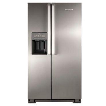 Refrigerador Brastemp Side by Side Ative! com Dispenser de Água e Gelo 560 Litros Inox - BRS62C