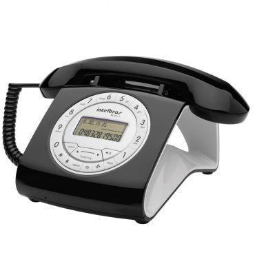 Telefone com Fio Retrô Intelbras TC 8312 Preto - Identificador de Chamadas, Viva Voz, Tecla Hold com 6 tipos de melodia, 16 opções de campainha