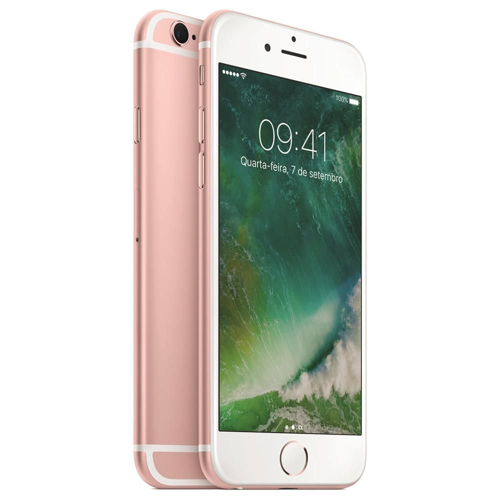 "iPhone 6s Apple com Tela 4,7"" HD com 128GB, 3D Touch, iOS 9, Sensor Touch ID, Câmera iSight 12MP, Wi-Fi, 4G, GPS, Bluetooth e NFC - Ouro Rosa"