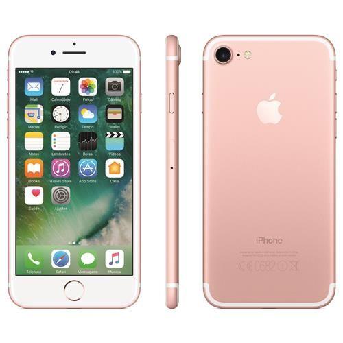 """iPhone 7 Apple com 128GB, Tela Retina HD de 4,7"""" com 3D Touch, iOS 10, Sensor Touch ID, Câmera 12MP, Resistente à Água, WiFi, 4G LTE e NFC - Ouro Rosa"""