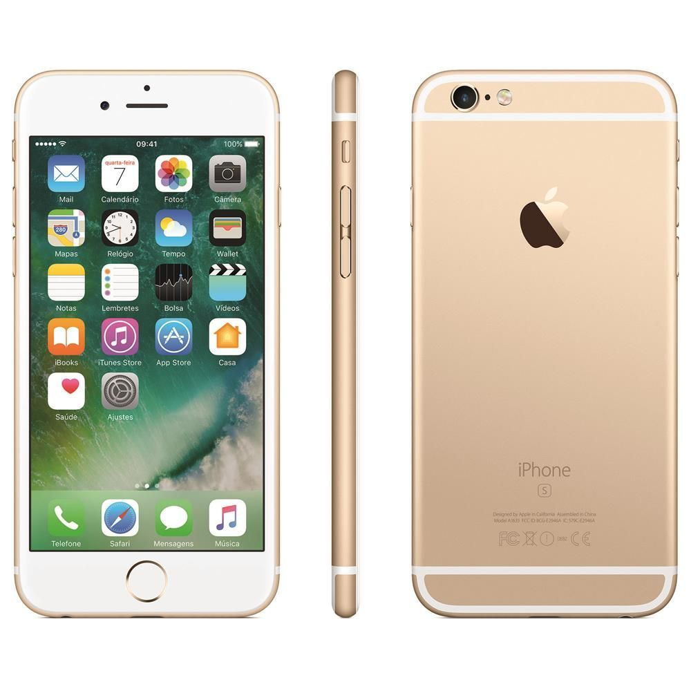 "iPhone 6s Apple com Tela 4,7"" HD com 128GB, 3D Touch, iOS 9, Sensor Touch ID, Câmera iSight 12MP, Wi-Fi, 4G, GPS, Bluetooth e NFC - Dourado"