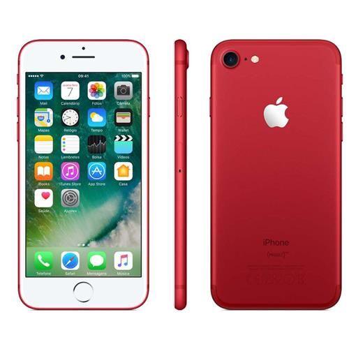 """iPhone 7 Apple Red com 128GB, Tela Retina HD de 4,7"""" com 3D Touch, iOS 10, Sensor Touch ID, Câmera 12MP, Resistente à Água, 4G LTE e NFC – Vermelho"""
