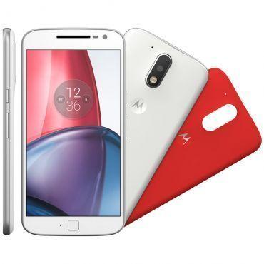 "Smartphone Motorola Moto G4 PLUS XT1640 Branco - Dual Chip,Tela 5.5"",Câmera 16MP+Frontal 5MP,Octa Core,32GB,2GB RAM,Android 6,Sensor impressão digital"