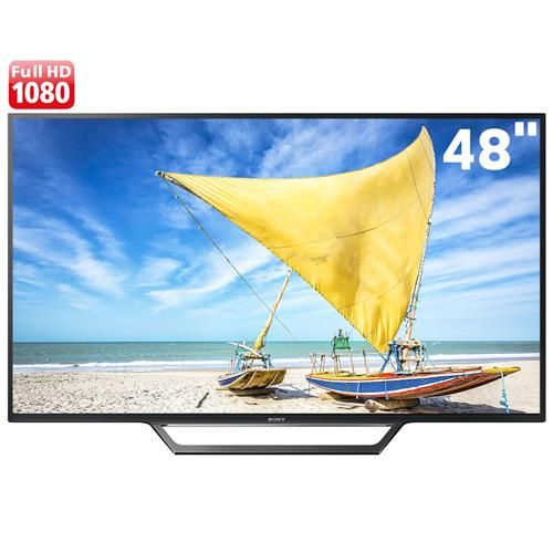 "Smart TV LED 48"" Full HD Sony BRAVIA KDL-48W655D com X-Reality Pro, MotionFlow XR, Screen Mirroring, Bass Reflex, Entradas HDMI e USB"