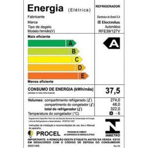 Geladeira/Refrigerador Frost Free RFE39 323 Litros 1 Porta 127V - Electrolux